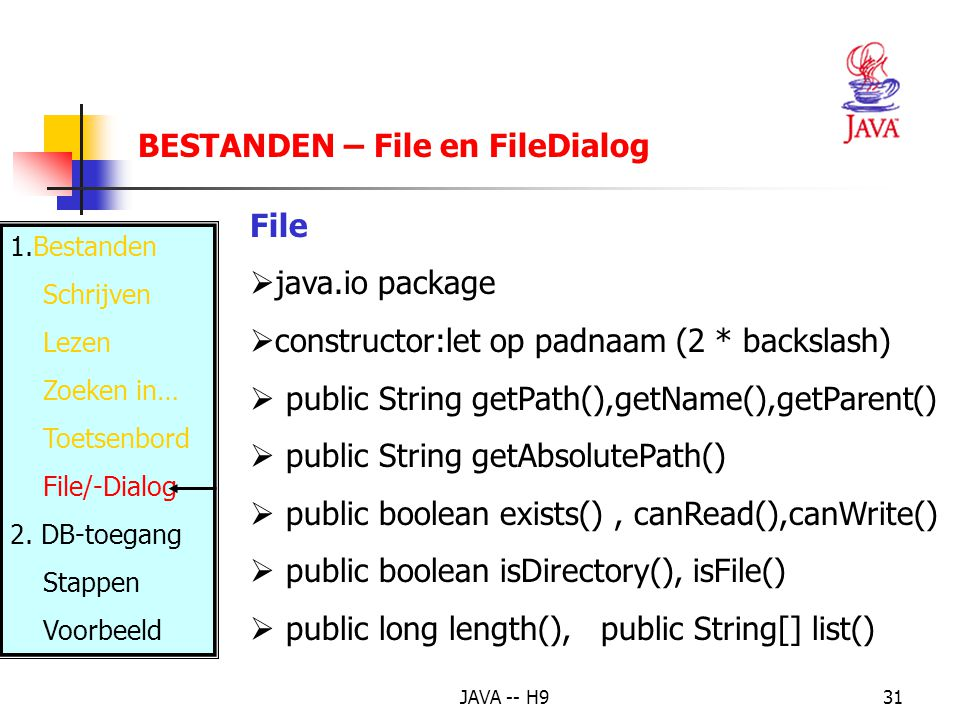 JAVA -- H931 BESTANDEN – File en FileDialog 1.Bestanden Schrijven Lezen Zoeken in… Toetsenbord File/-Dialog 2.
