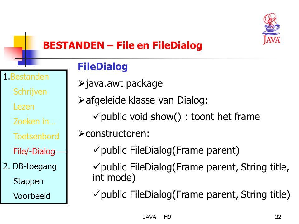 JAVA -- H932 BESTANDEN – File en FileDialog 1.Bestanden Schrijven Lezen Zoeken in… Toetsenbord File/-Dialog 2.
