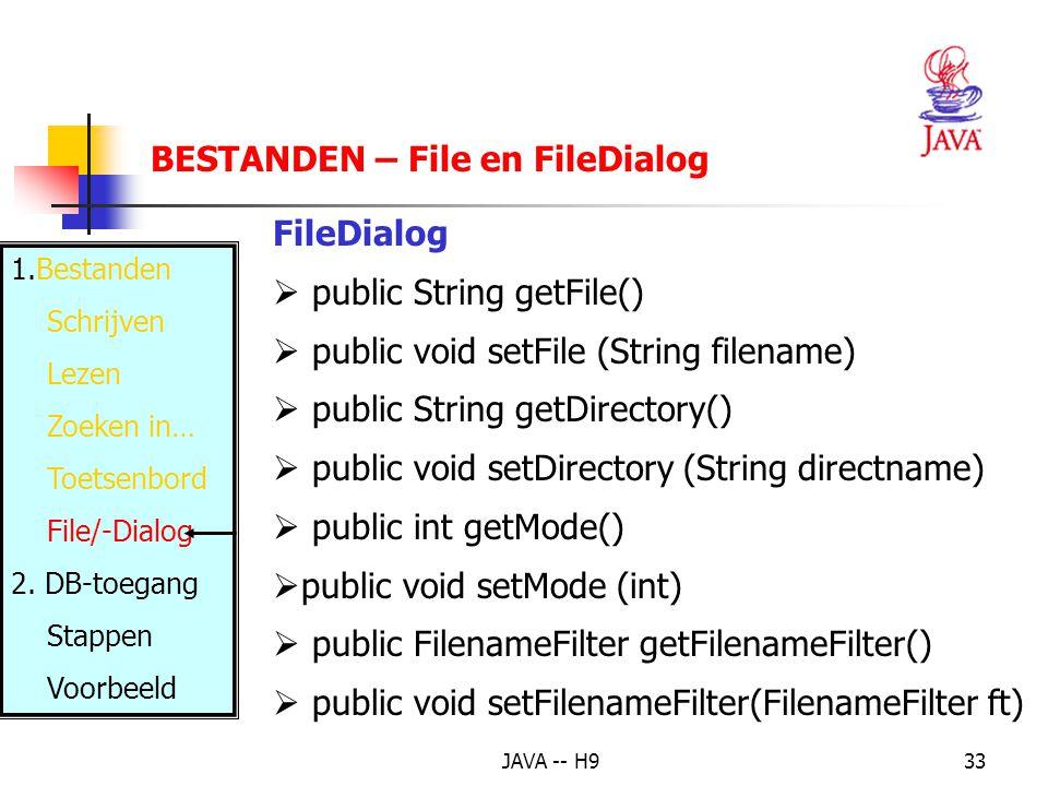JAVA -- H933 BESTANDEN – File en FileDialog 1.Bestanden Schrijven Lezen Zoeken in… Toetsenbord File/-Dialog 2.