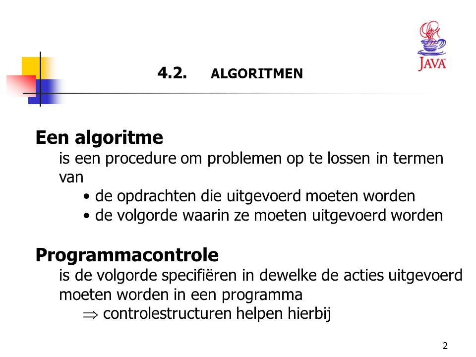 2 4.2. ALGORITMEN Een algoritme is een procedure om problemen op te lossen in termen van de opdrachten die uitgevoerd moeten worden de volgorde waarin