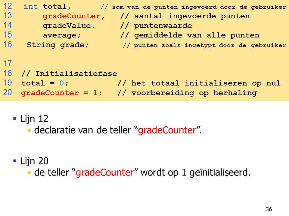 """36  Lijn 12 declaratie van de teller """"gradeCounter"""".  Lijn 20 de teller """"gradeCounter"""" wordt op 1 geïnitialiseerd. 12 int total, // som van de punte"""