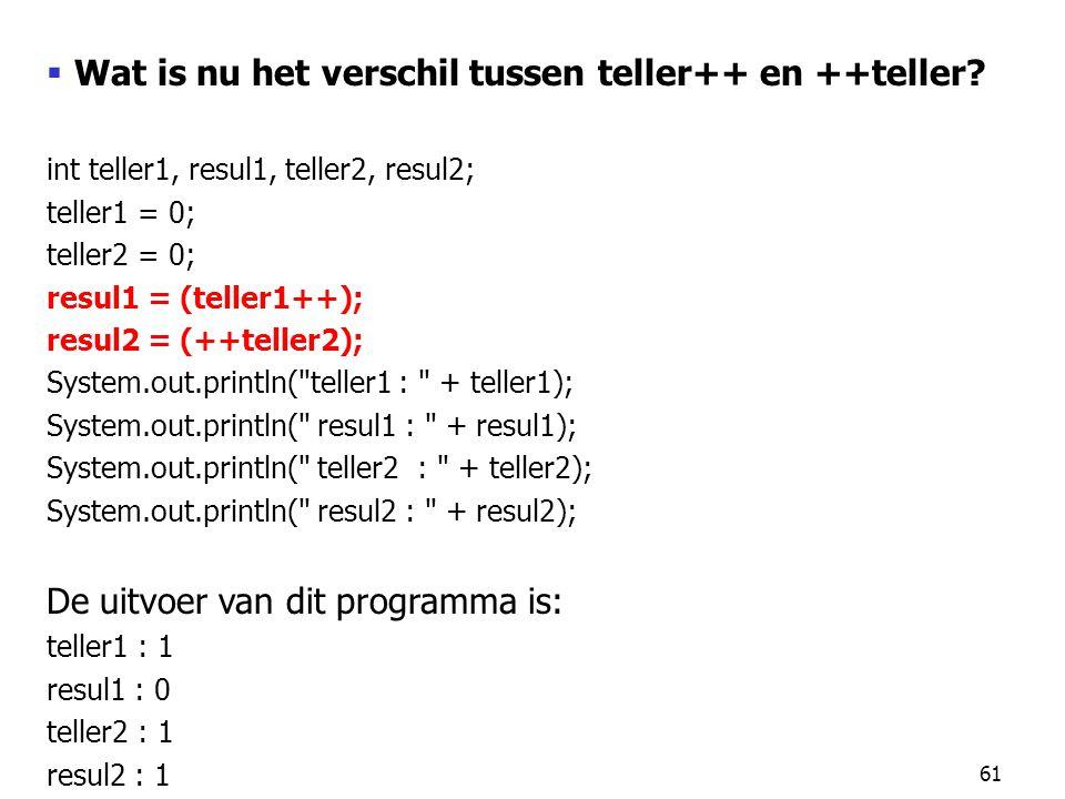 61  Wat is nu het verschil tussen teller++ en ++teller? int teller1, resul1, teller2, resul2; teller1 = 0; teller2 = 0; resul1 = (teller1++); resul2