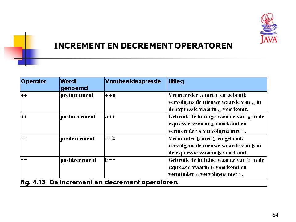 64 INCREMENT EN DECREMENT OPERATOREN