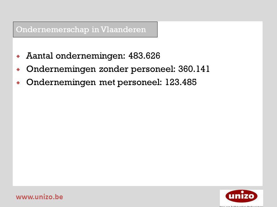 Ondernemerschap in Vlaanderen  Aantal ondernemingen: 483.626  Ondernemingen zonder personeel: 360.141  Ondernemingen met personeel: 123.485 www.uni