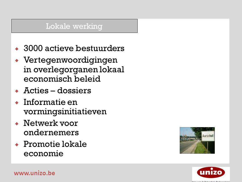 Lokale werking  3000 actieve bestuurders  Vertegenwoordigingen in overlegorganen lokaal economisch beleid  Acties – dossiers  Informatie en vormin