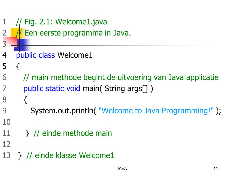 JAVA11 1 // Fig. 2.1: Welcome1.java 2 // Een eerste programma in Java. 3 4 public class Welcome1 5 { 6 // main methode begint de uitvoering van Java a