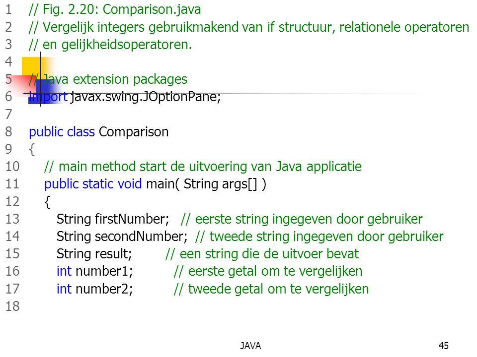 JAVA45 1 // Fig. 2.20: Comparison.java 2 // Vergelijk integers gebruikmakend van if structuur, relationele operatoren 3 // en gelijkheidsoperatoren. 4