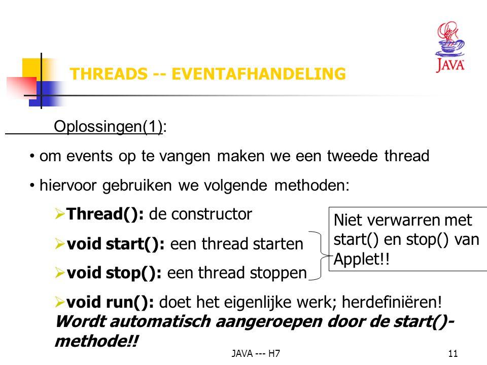 JAVA --- H711 Niet verwarren met start() en stop() van Applet!! Oplossingen(1): om events op te vangen maken we een tweede thread hiervoor gebruiken w