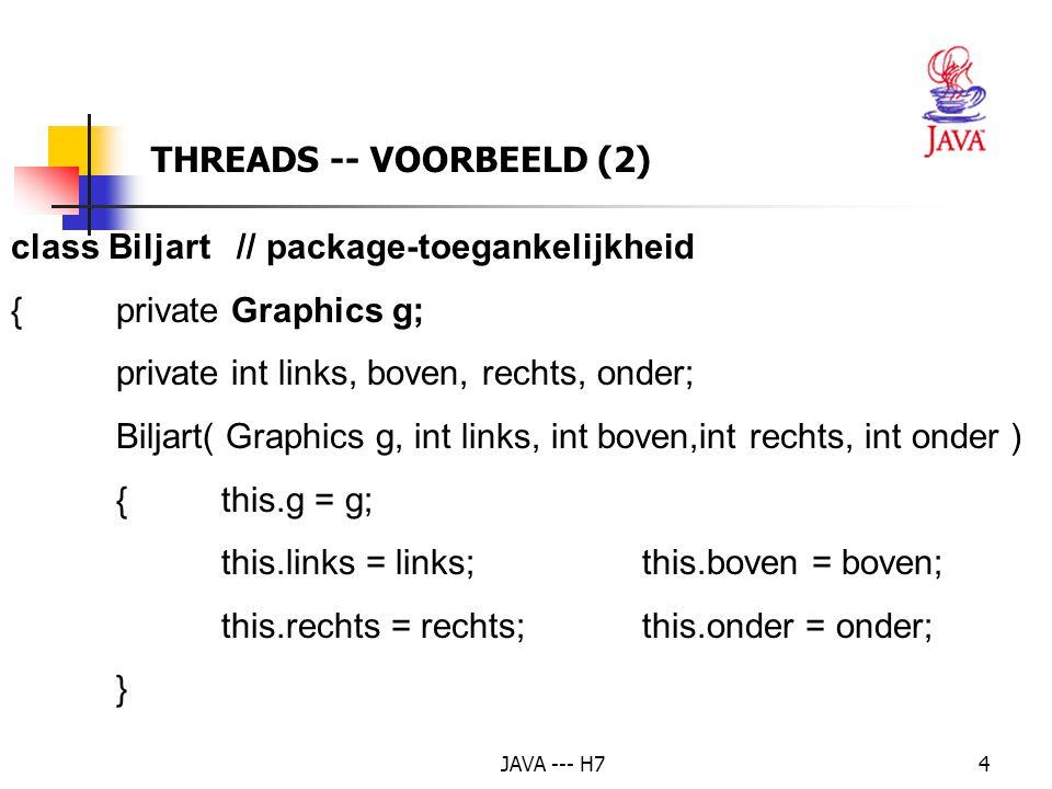 JAVA --- H735 THREADS -- VOORBEELD: DE KLOK g.setColor( Color.cyan ); g.drawOval( -100, -100, 200, 200 ); g.setColor( Color.blue ); g.drawOval( -99, -99, 198, 198 ); // Teken de stippen op de klok g.fillOval( -4, -4, 9, 9 ); for( int u = 0; u < 12; u++ ) { double stipHoek = tweePi * u / 12; if( u % 3 == 0 ) {g.setColor( Color.cyan ); g.fillOval( (int) ( 90 * Math.cos( stipHoek ) - 3 ), (int) ( -90 * Math.sin( stipHoek ) - 3 ), 5, 5 ); }