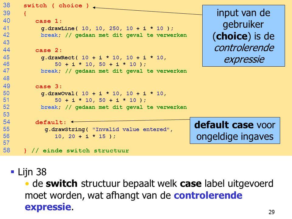 29 38 switch ( choice ) 39 { 40 case 1: 41 g.drawLine( 10, 10, 250, 10 + i * 10 ); 42 break; // gedaan met dit geval te verwerken 43 44 case 2: 45 g.d