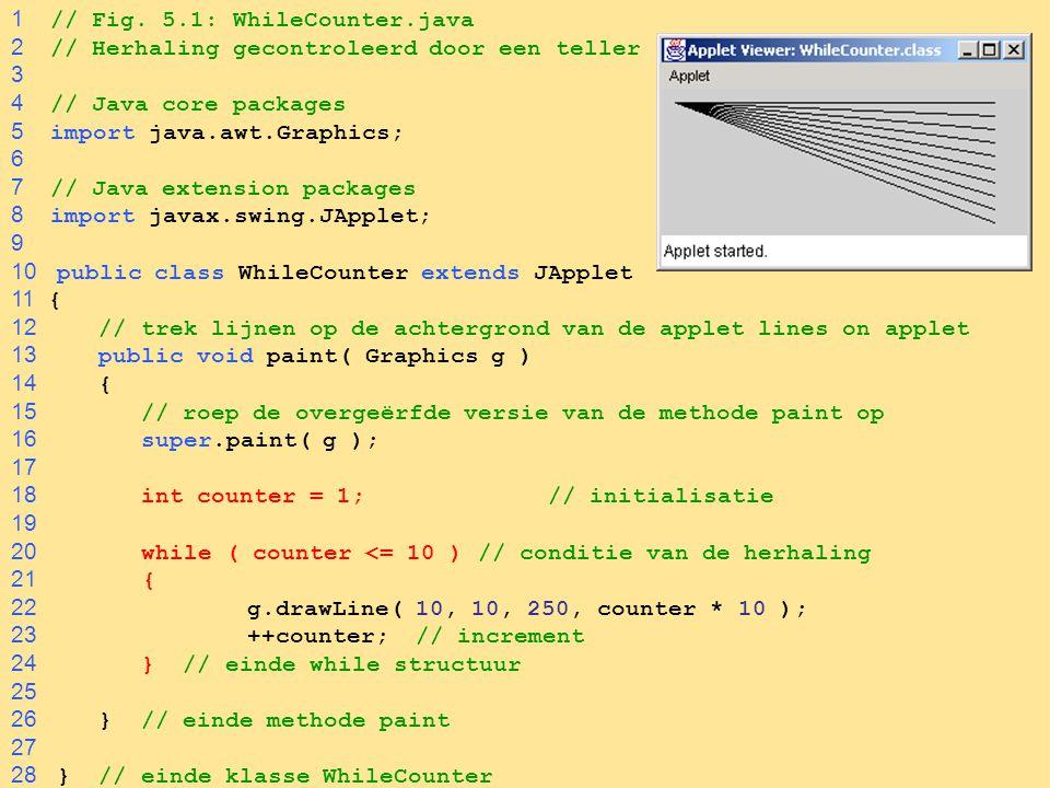 45  ContinueLabelTest.java programma met een gelabeled continue statement VOORBEELD 1 // Fig.