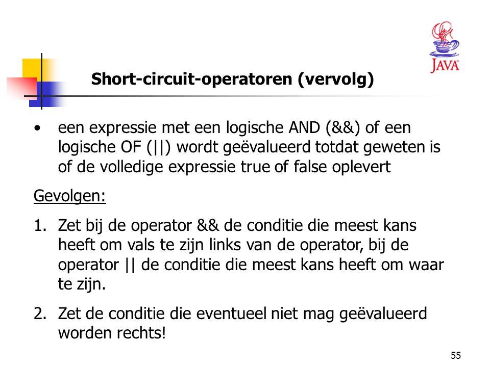 55 Short-circuit-operatoren (vervolg) een expressie met een logische AND (&&) of een logische OF (||) wordt geëvalueerd totdat geweten is of de volled