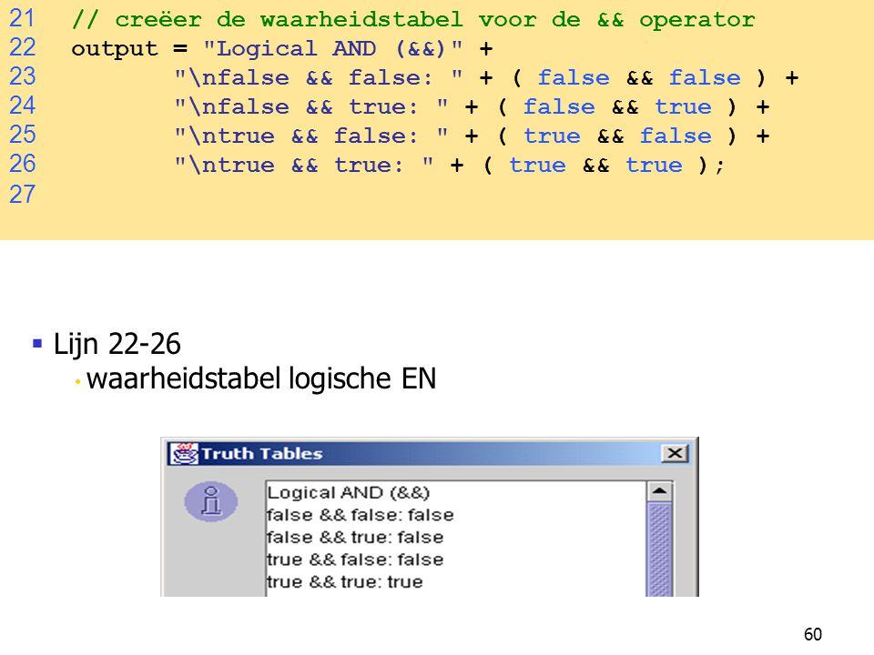 60 21 // creëer de waarheidstabel voor de && operator 22 output =