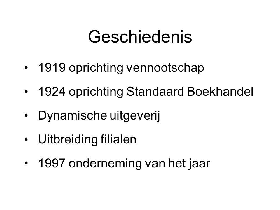 Geschiedenis 1919 oprichting vennootschap 1924 oprichting Standaard Boekhandel Dynamische uitgeverij Uitbreiding filialen 1997 onderneming van het jaar