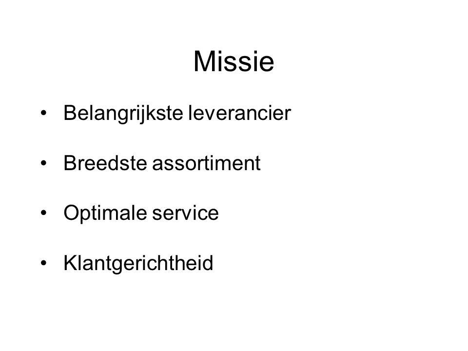 Missie Belangrijkste leverancier Breedste assortiment Optimale service Klantgerichtheid