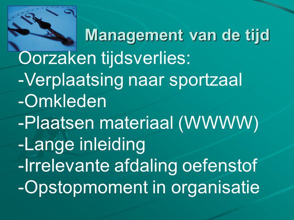 Management van de tijd Oorzaken tijdsverlies: -Verplaatsing naar sportzaal -Omkleden -Plaatsen materiaal (WWWW) -Lange inleiding -Irrelevante afdaling