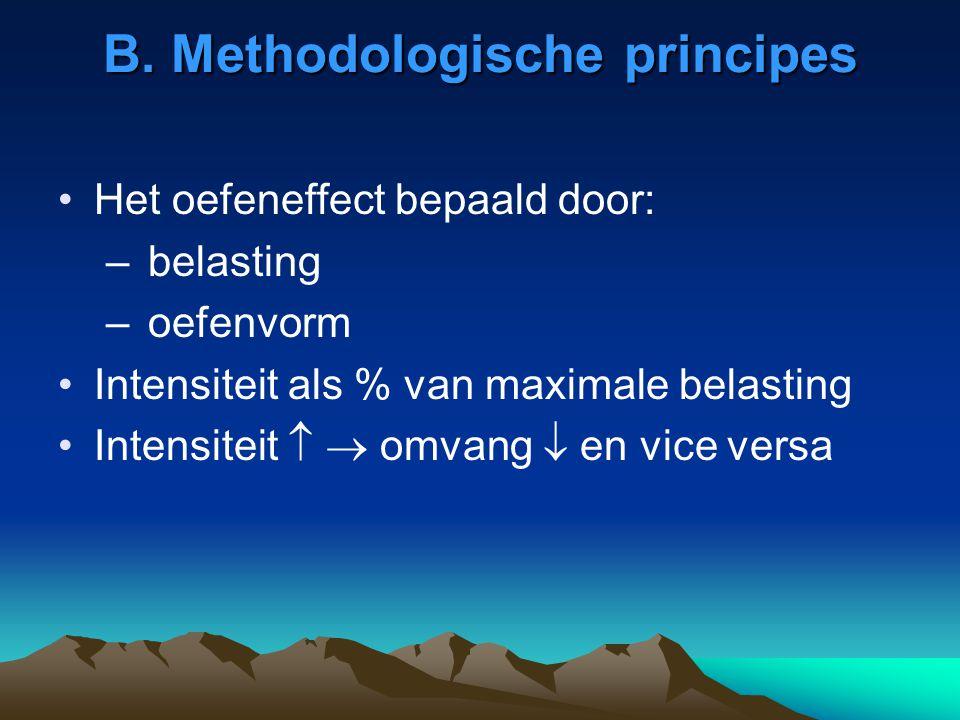 B. Methodologische principes Het oefeneffect bepaald door: – belasting – oefenvorm Intensiteit als % van maximale belasting Intensiteit   omvang  e