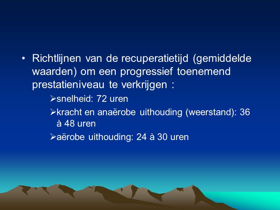 Richtlijnen van de recuperatietijd (gemiddelde waarden) om een progressief toenemend prestatieniveau te verkrijgen :  snelheid: 72 uren  kracht en anaërobe uithouding (weerstand): 36 à 48 uren  aërobe uithouding: 24 à 30 uren