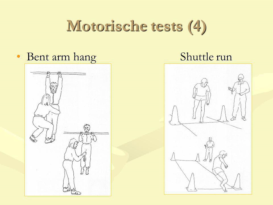 Motorische tests (4) Bent arm hangShuttle runBent arm hangShuttle run