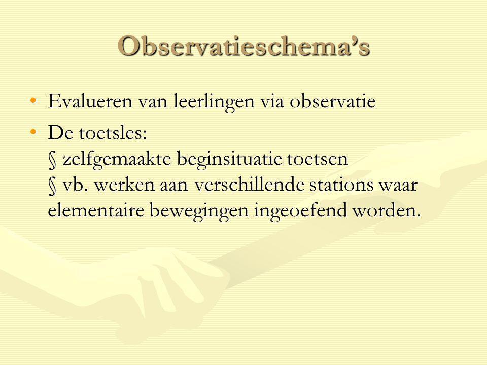 Observatieschema's Evalueren van leerlingen via observatieEvalueren van leerlingen via observatie De toetsles: § zelfgemaakte beginsituatie toetsen §