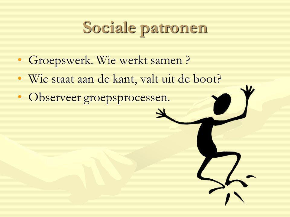 Sociale patronen Groepswerk. Wie werkt samen ?Groepswerk. Wie werkt samen ? Wie staat aan de kant, valt uit de boot?Wie staat aan de kant, valt uit de