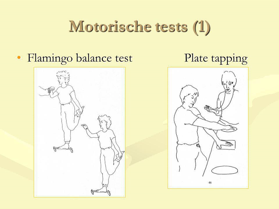 Motorische tests (1) Flamingo balance testPlate tappingFlamingo balance testPlate tapping