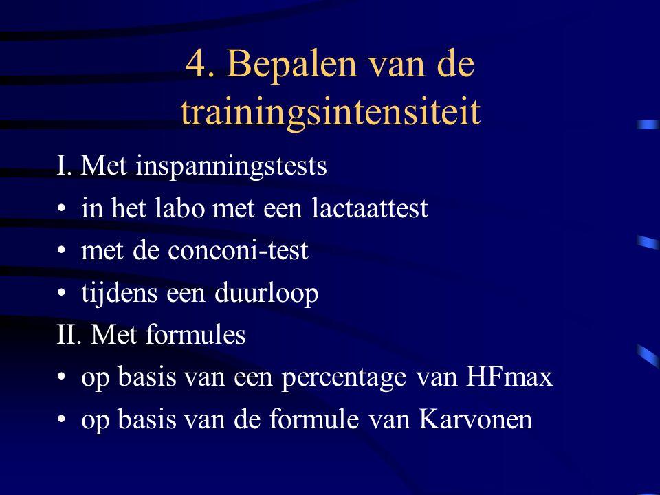 4. Bepalen van de trainingsintensiteit I. Met inspanningstests in het labo met een lactaattest met de conconi-test tijdens een duurloop II. Met formul