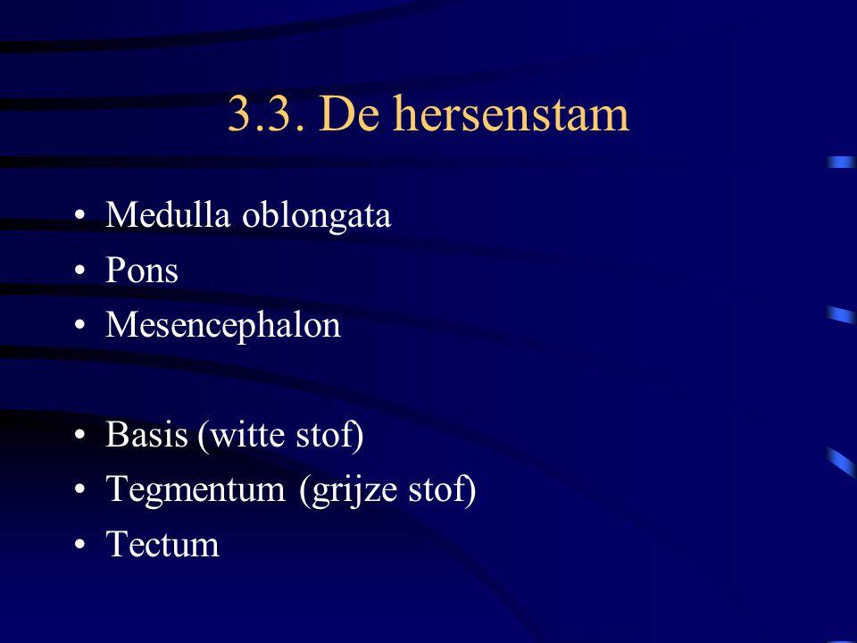 Grijze stof in truncus cerebri Kernen van hersenzenuwen Schakelkernen vb oliva Regelcentra –Formatio reticularis: ademhaling, bewustzijn, lichaamshouding, bloedsomloop –Substantia nigra: inzetten en coördineren van bewegingen –nucleus ruber: idem –Vierheuvelplaat: optische en akoestische oriëntatie