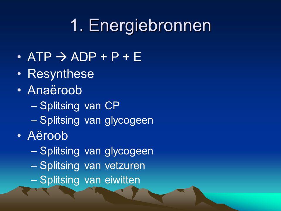 2. Energievoorraden ATP en CP Glycogeen Vetzuren Eiwitten