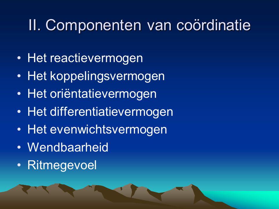 II. Componenten van coördinatie Het reactievermogen Het koppelingsvermogen Het oriëntatievermogen Het differentiatievermogen Het evenwichtsvermogen We
