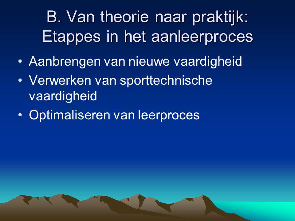 B. Van theorie naar praktijk: Etappes in het aanleerproces Aanbrengen van nieuwe vaardigheid Verwerken van sporttechnische vaardigheid Optimaliseren v