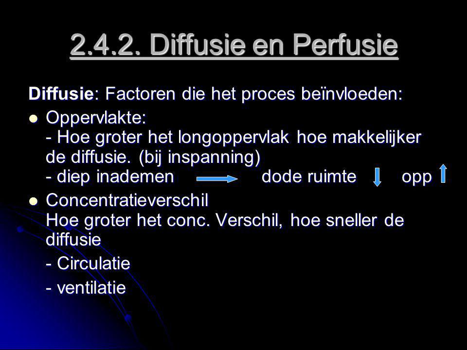 2.4.2. Diffusie en Perfusie Diffusie: Factoren die het proces beïnvloeden: Oppervlakte: - Hoe groter het longoppervlak hoe makkelijker de diffusie. (b
