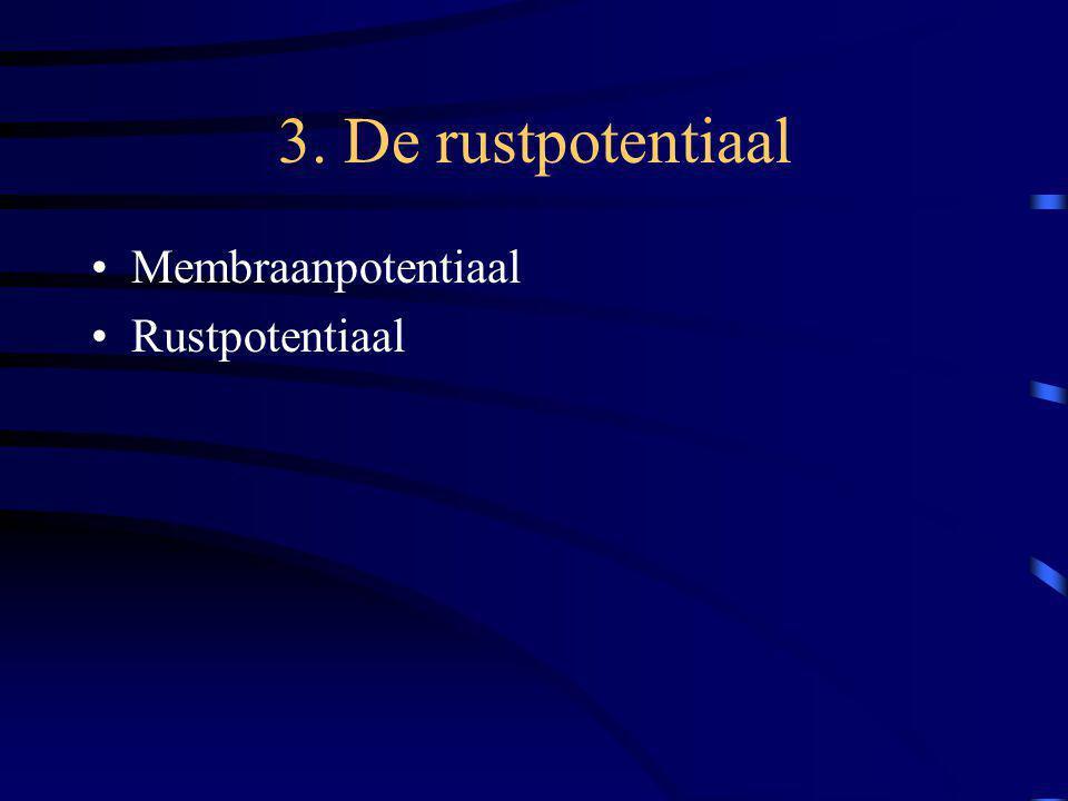 3. De rustpotentiaal Membraanpotentiaal Rustpotentiaal