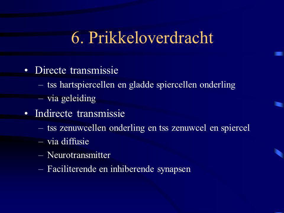 6. Prikkeloverdracht Directe transmissie –tss hartspiercellen en gladde spiercellen onderling –via geleiding Indirecte transmissie –tss zenuwcellen on