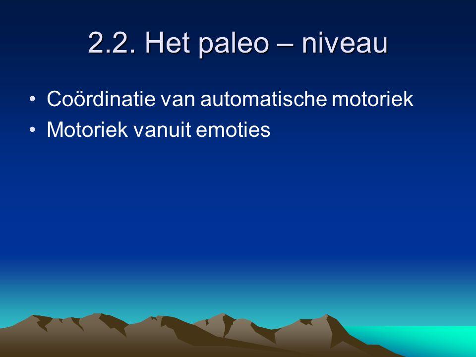 2.2. Het paleo – niveau Coördinatie van automatische motoriek Motoriek vanuit emoties