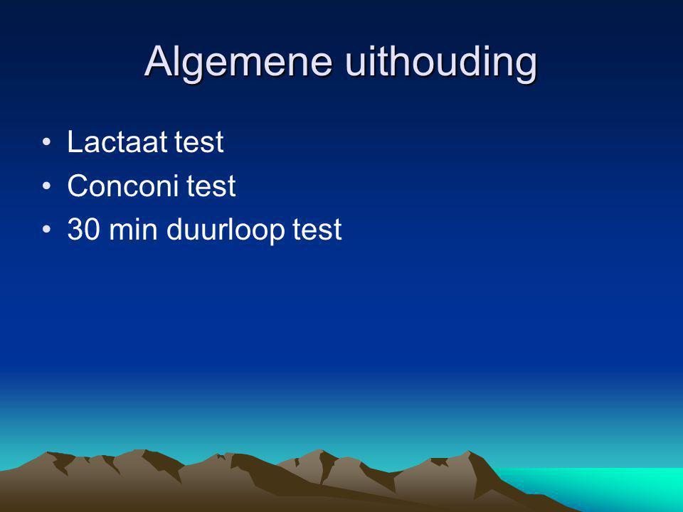 Algemene uithouding Lactaat test Conconi test 30 min duurloop test