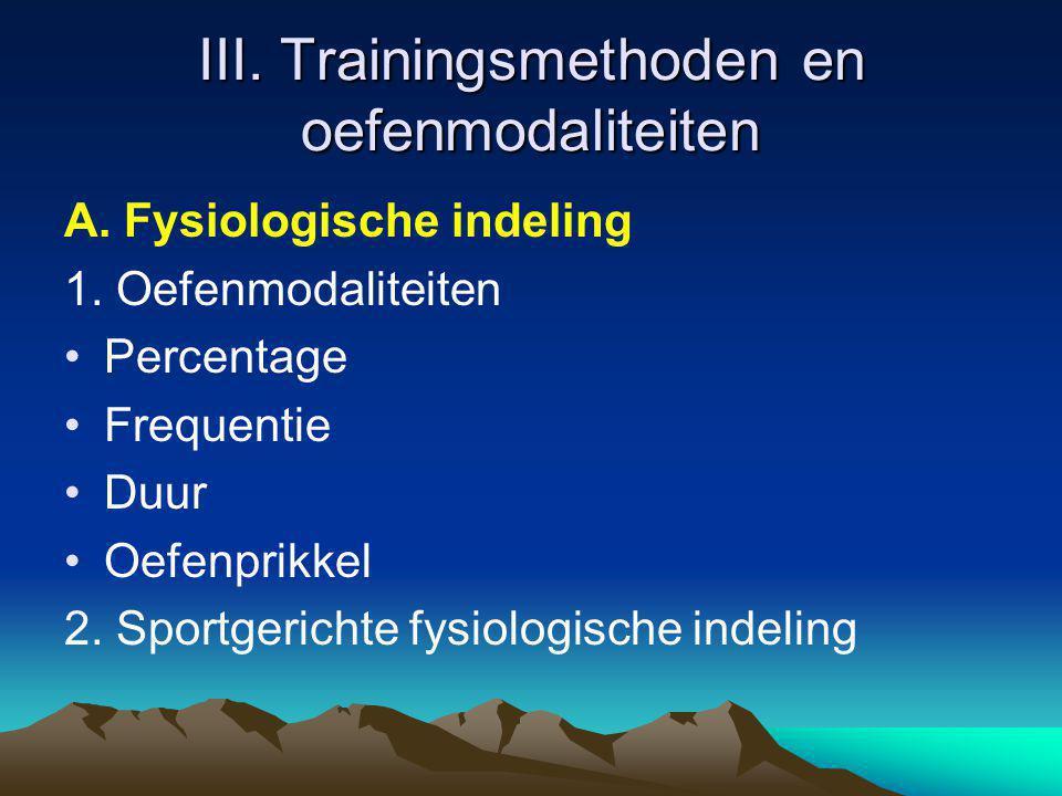 III. Trainingsmethoden en oefenmodaliteiten A. Fysiologische indeling 1. Oefenmodaliteiten Percentage Frequentie Duur Oefenprikkel 2. Sportgerichte fy