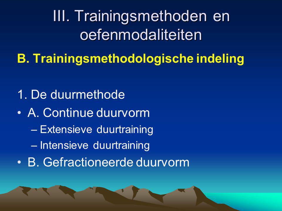 III. Trainingsmethoden en oefenmodaliteiten B. Trainingsmethodologische indeling 1. De duurmethode A. Continue duurvorm –Extensieve duurtraining –Inte