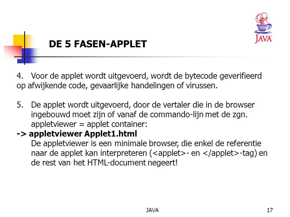 JAVA17 DE 5 FASEN-APPLET 4.Voor de applet wordt uitgevoerd, wordt de bytecode geverifieerd op afwijkende code, gevaarlijke handelingen of virussen.