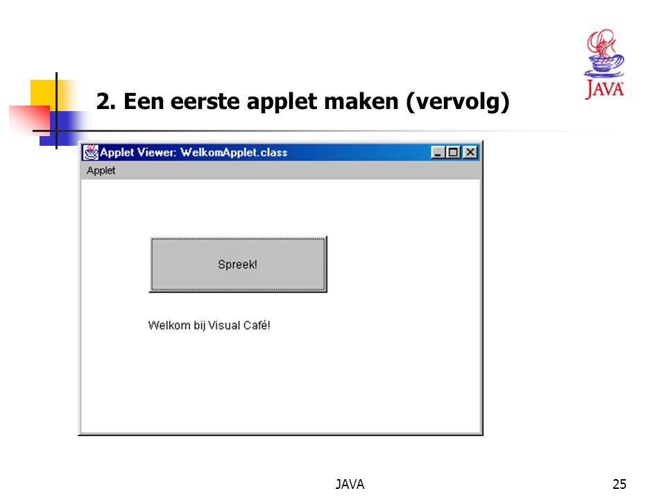 JAVA25 2. Een eerste applet maken (vervolg)