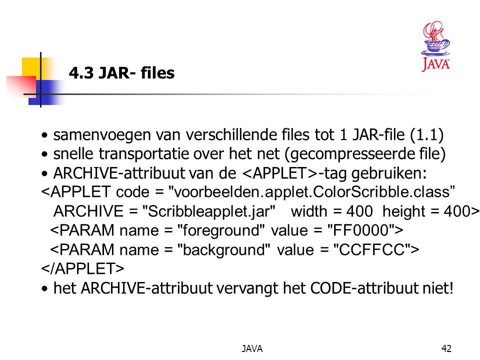 JAVA42 4.3 JAR- files samenvoegen van verschillende files tot 1 JAR-file (1.1) snelle transportatie over het net (gecompresseerde file) ARCHIVE-attribuut van de -tag gebruiken: <APPLET code = voorbeelden.applet.ColorScribble.class ARCHIVE = Scribbleapplet.jar width = 400 height = 400> het ARCHIVE-attribuut vervangt het CODE-attribuut niet!