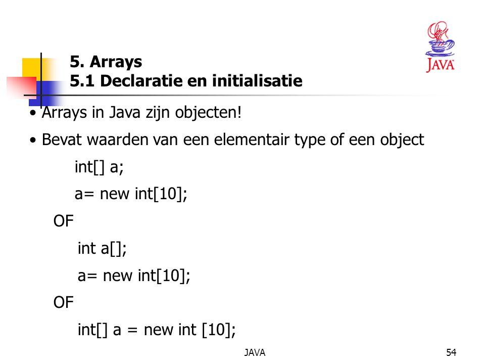 JAVA54 5. Arrays 5.1 Declaratie en initialisatie Arrays in Java zijn objecten.