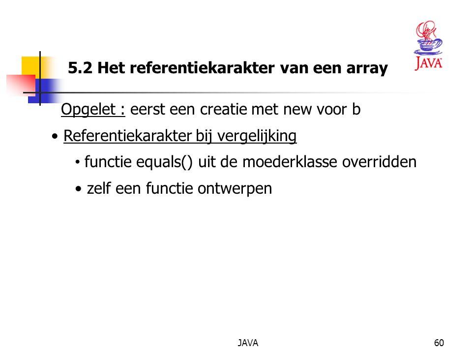 JAVA60 5.2 Het referentiekarakter van een array Opgelet : eerst een creatie met new voor b Referentiekarakter bij vergelijking functie equals() uit de moederklasse overridden zelf een functie ontwerpen