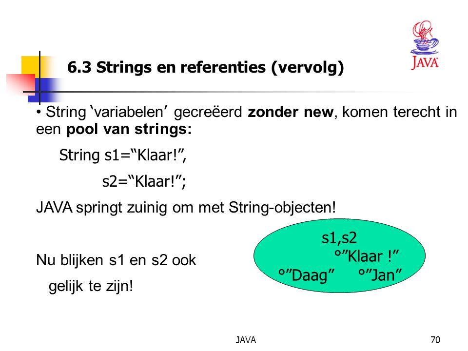 JAVA70 6.3 Strings en referenties (vervolg) String ' variabelen ' gecre ë erd zonder new, komen terecht in een pool van strings: String s1= Klaar! , s2= Klaar! ; JAVA springt zuinig om met String-objecten.