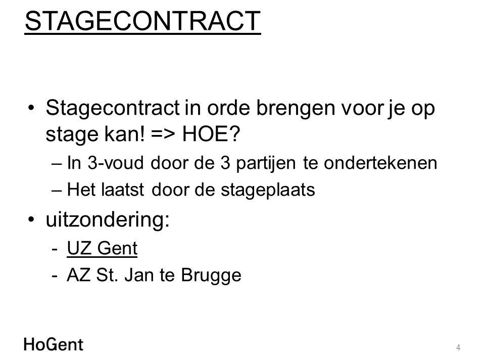STAGECONTRACT Stagecontract in orde brengen voor je op stage kan! => HOE? –In 3-voud door de 3 partijen te ondertekenen –Het laatst door de stageplaat