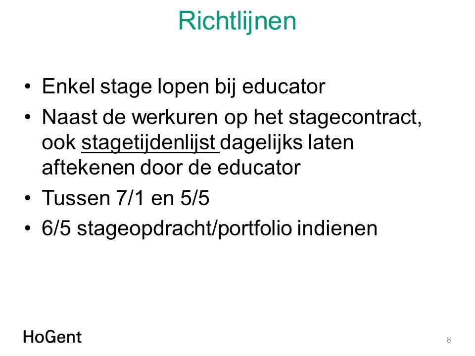 Richtlijnen Enkel stage lopen bij educator Naast de werkuren op het stagecontract, ook stagetijdenlijst dagelijks laten aftekenen door de educatorstag
