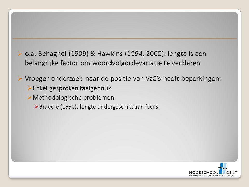  o.a. Behaghel (1909) & Hawkins (1994, 2000): lengte is een belangrijke factor om woordvolgordevariatie te verklaren  Vroeger onderzoek naar de posi