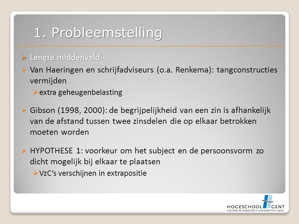  Lengte middenveld  Van Haeringen en schrijfadviseurs (o.a. Renkema): tangconstructies vermijden  extra geheugenbelasting  Gibson (1998, 2000): de