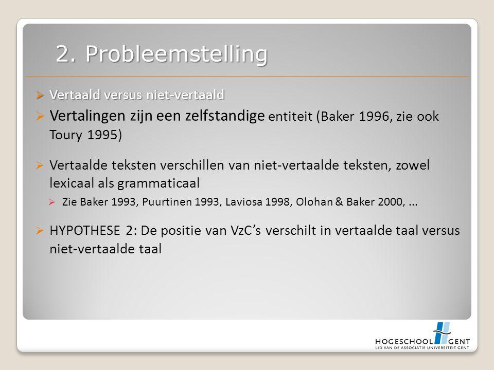  Vertaald versus niet-vertaald  Vertalingen zijn een zelfstandige entiteit (Baker 1996, zie ook Toury 1995)  Vertaalde teksten verschillen van niet-vertaalde teksten, zowel lexicaal als grammaticaal  Zie Baker 1993, Puurtinen 1993, Laviosa 1998, Olohan & Baker 2000,...