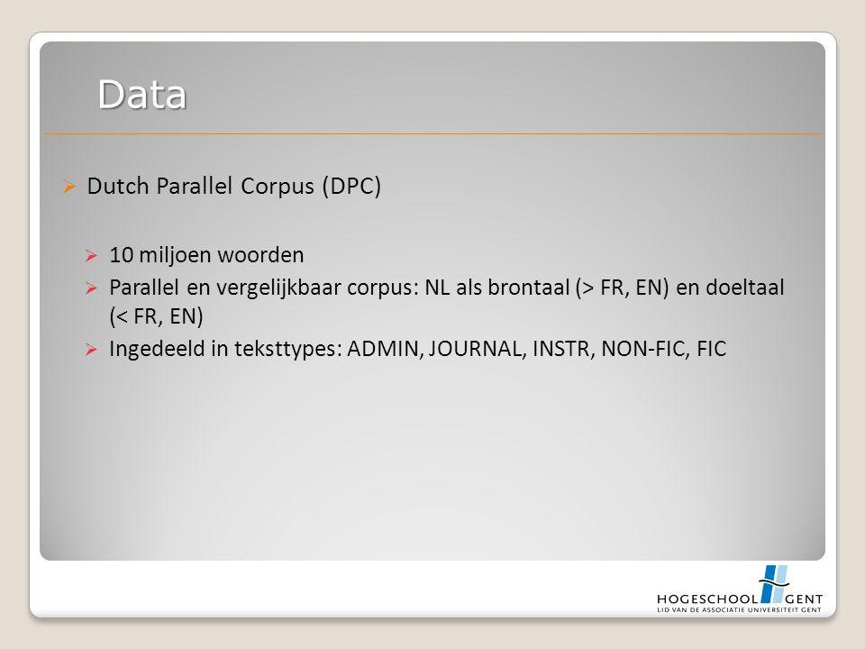  Dutch Parallel Corpus (DPC)  10 miljoen woorden  Parallel en vergelijkbaar corpus: NL als brontaal (> FR, EN) en doeltaal (< FR, EN)  Ingedeeld in teksttypes: ADMIN, JOURNAL, INSTR, NON-FIC, FIC Data